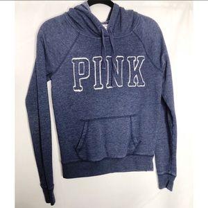 Pink Victoria secret blue hooded sweatshirt Xs